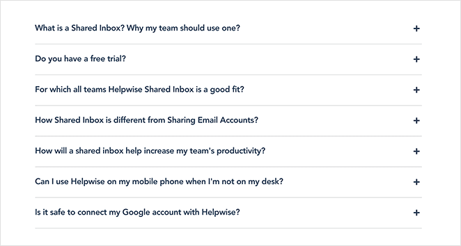 Helpwise landing page faq section