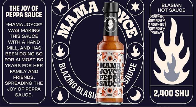 Mama Joyce Peppa Sauce one page website examples