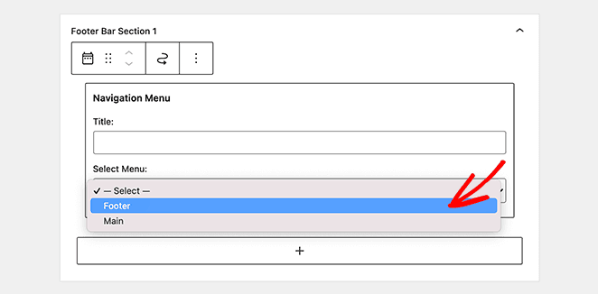 Add the navigation menu widget to the footer widget area