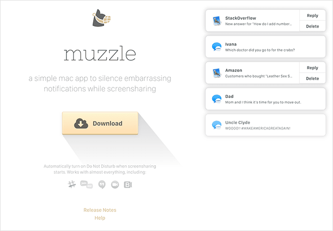 Muzzle SaaS landing page example