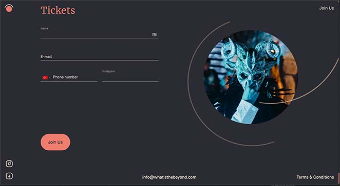 One page website event registration form