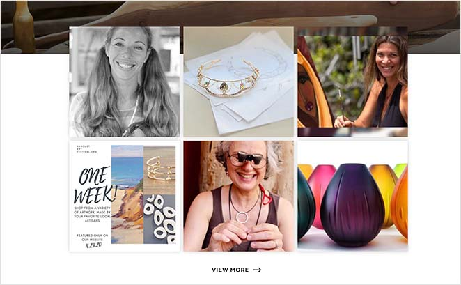 One page website examples instagram feed