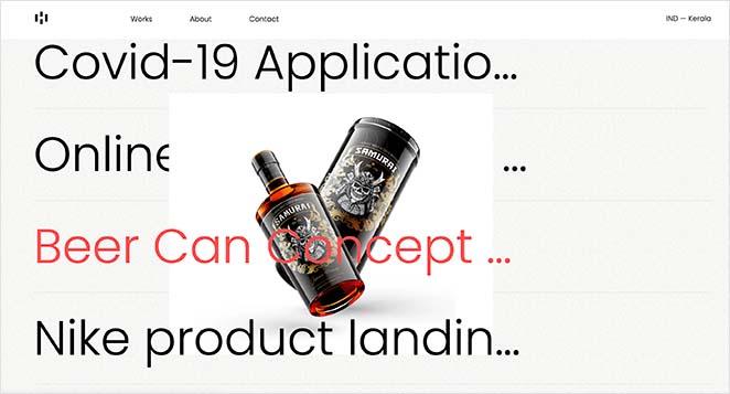 One page website portfolio example