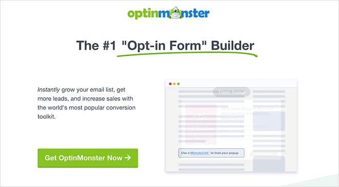 OptinMonster SaaS landing page example
