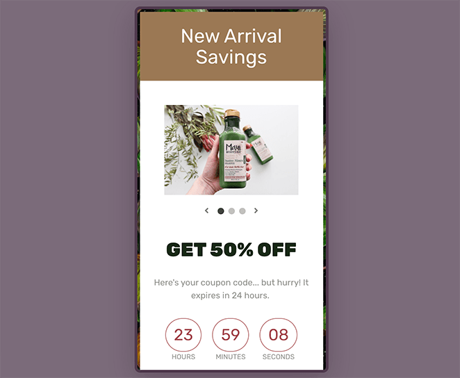 coupon code landing page mobile preview