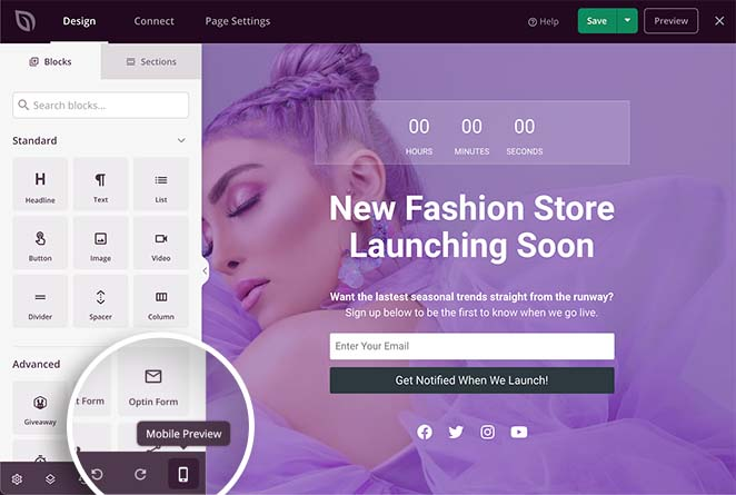 Preview your woocommerce coming soon page on mobile