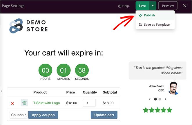 Publish your customized woocommerce cart page