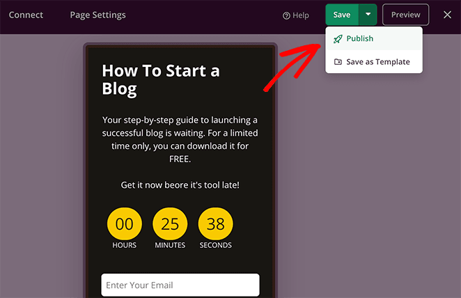 Publish your gated content landing page