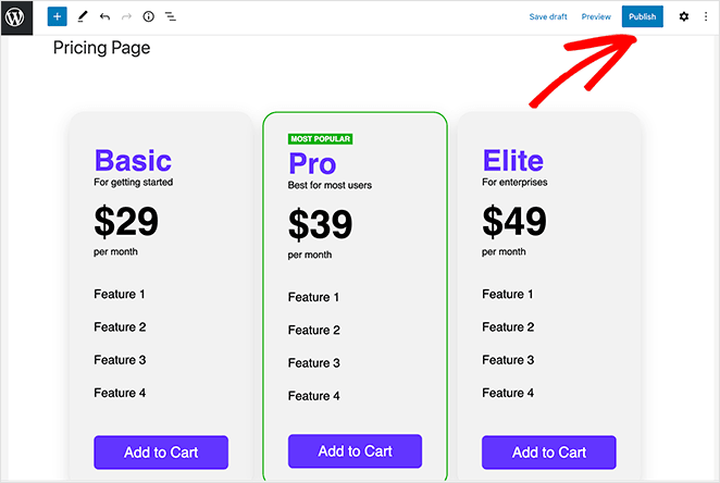 Publish your vertical pricing table in WordPress