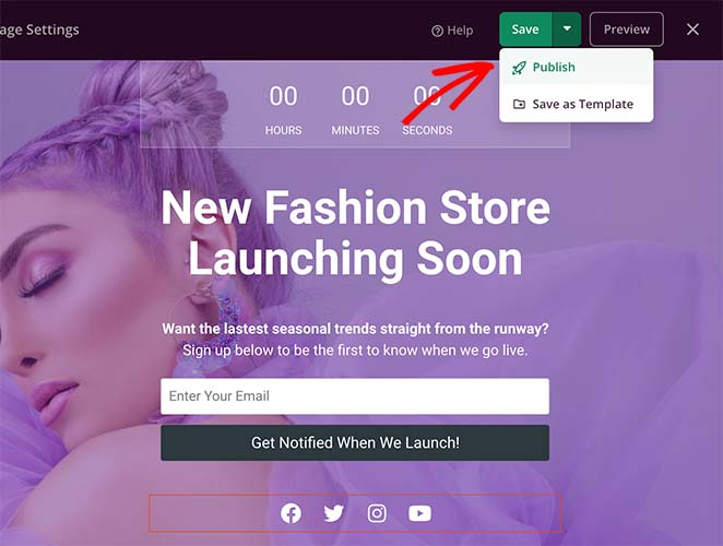 Publish your woocommerce coming soon page
