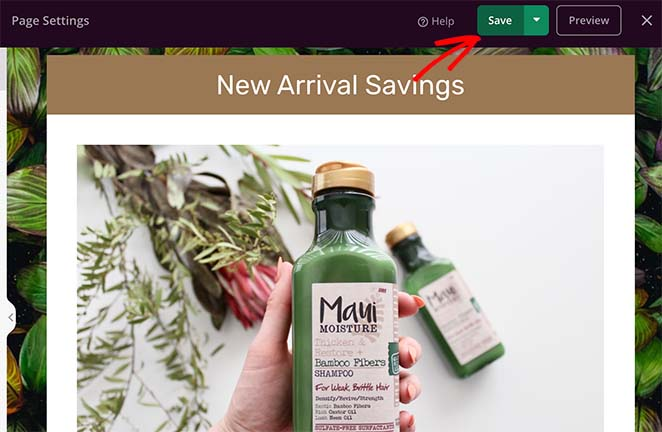 Save your coupon code landing page