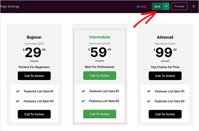 Save your pricing page changes