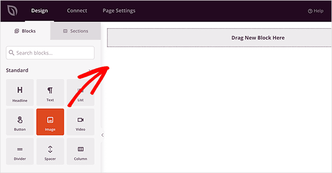 Select the SeedProd image block