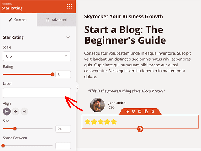 Add the star rating block to your gated content landing page for social proof