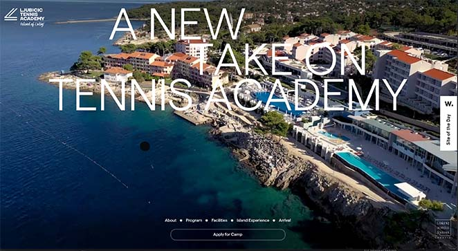 Tennis academy one page website examples