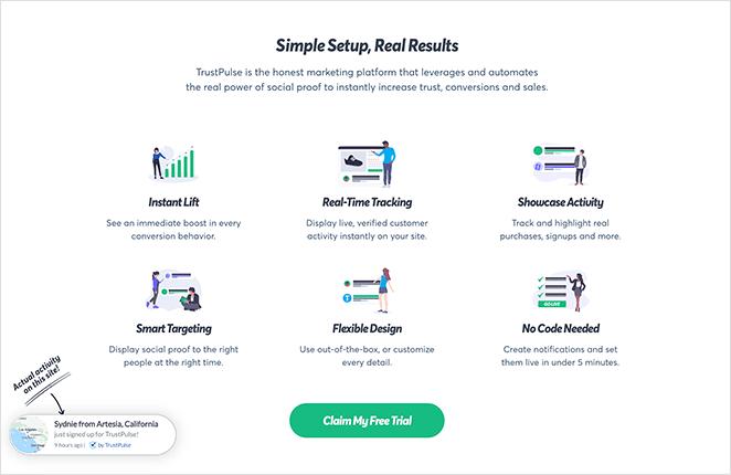 TrustPulse SaaS landing page features