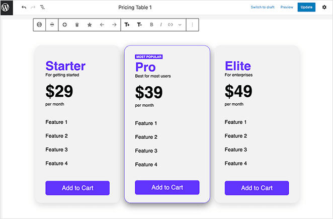 Launch your vertical pricing table WordPress design