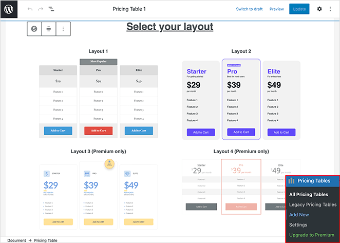 Choose a vertical pricing table WordPress template