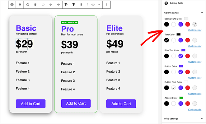 Change your pricing table colors