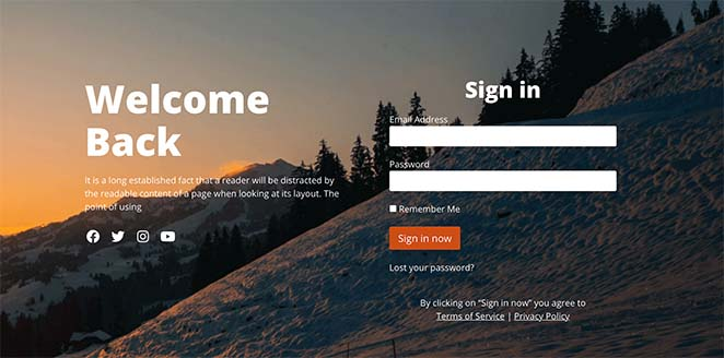 Welcome login page template