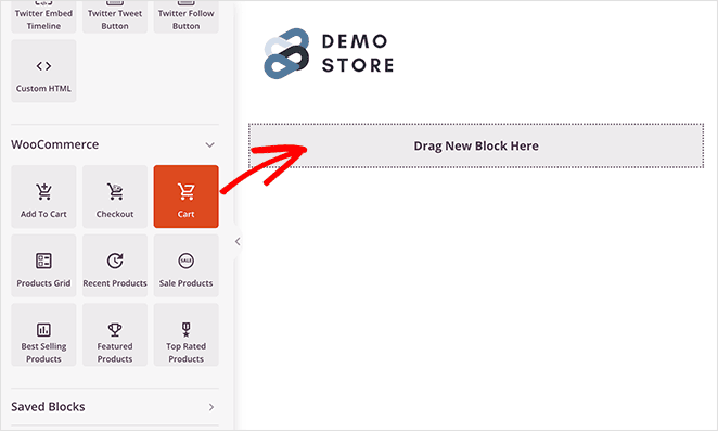 Add the woocommerce cart block to your page