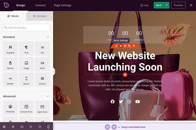 SeedProd woocommerce coming soon page builder