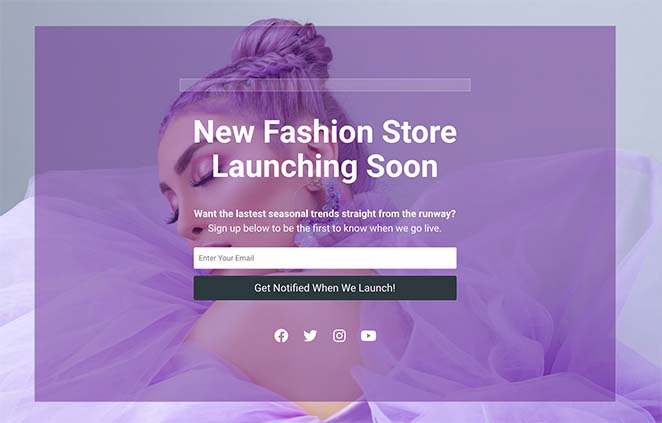 WooCommerce coming soon page example