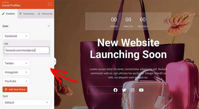 Customize your woocommerce coming soon page social media icons