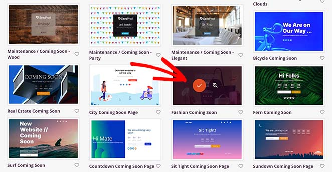 Choose a woocommerce coming soon template
